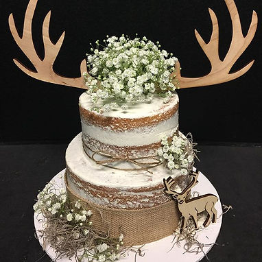 Rustic themed naked baby shower cake. #b