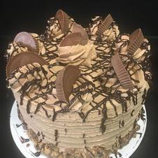 Our decadent peanut butter chocolate cak
