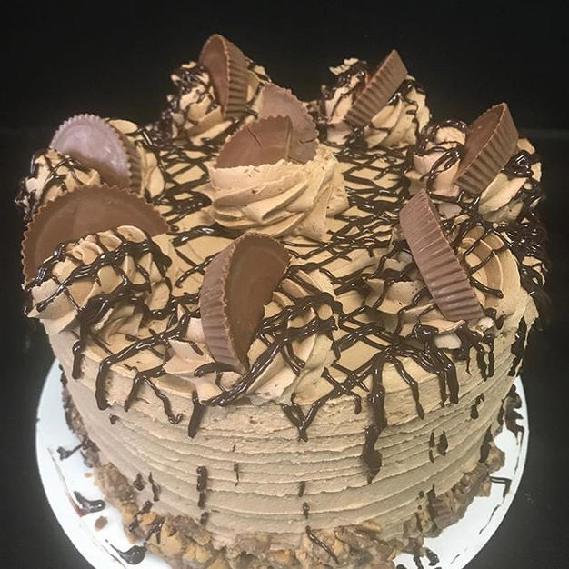 Our decadent peanut butter chocolate cak