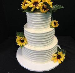 Rustic lined Three Tier With Silk Flowers