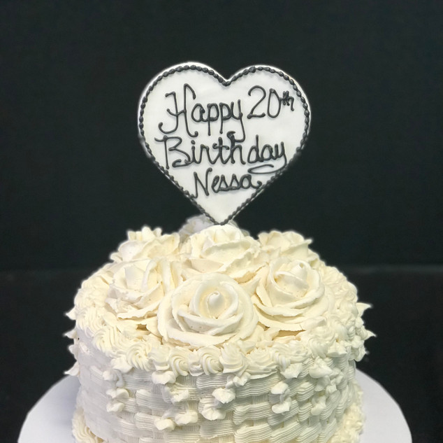 Monotone Roses and Heart Topper