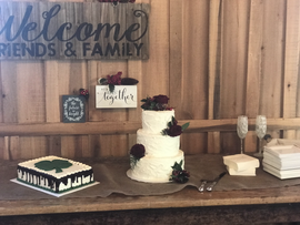 Three tier rustic cake with custom groom's cake