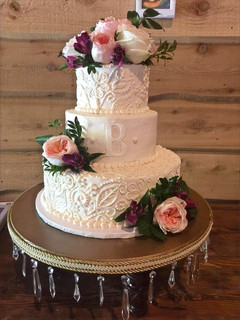 Three Tier Complete Scroll with Monogram Cake