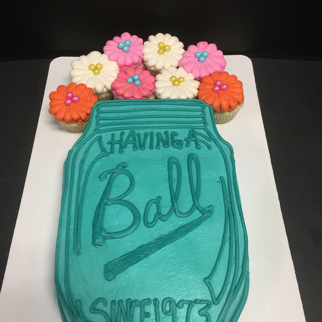Having a Ball Cake and Cupcakes