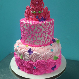 Princess birthday cake. Pretty and  pink