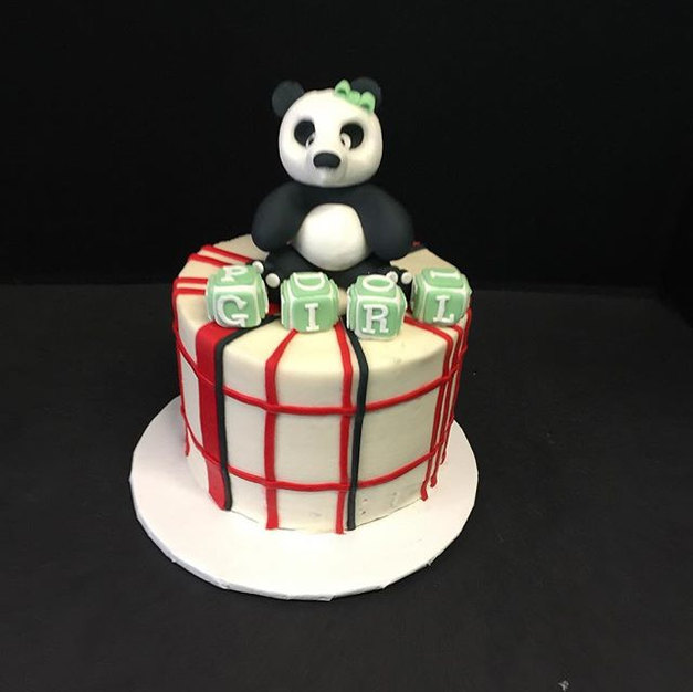 Panda and plaid baby shower cake. #borot