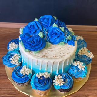 Birthday cake and cupcakes