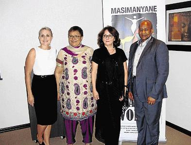 United Nations special rapporteur on violence against women Dr Dubravka Simonovic is flanked by Dr Lesley-Ann Foster of Masimanyane Women's Support Centre and Buffalo City Metro executive mayor Alfred Mtsi.
