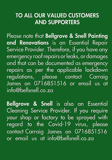 COVID-19: Bellgrove & Snell listed as an essential repair, cleaning service provider