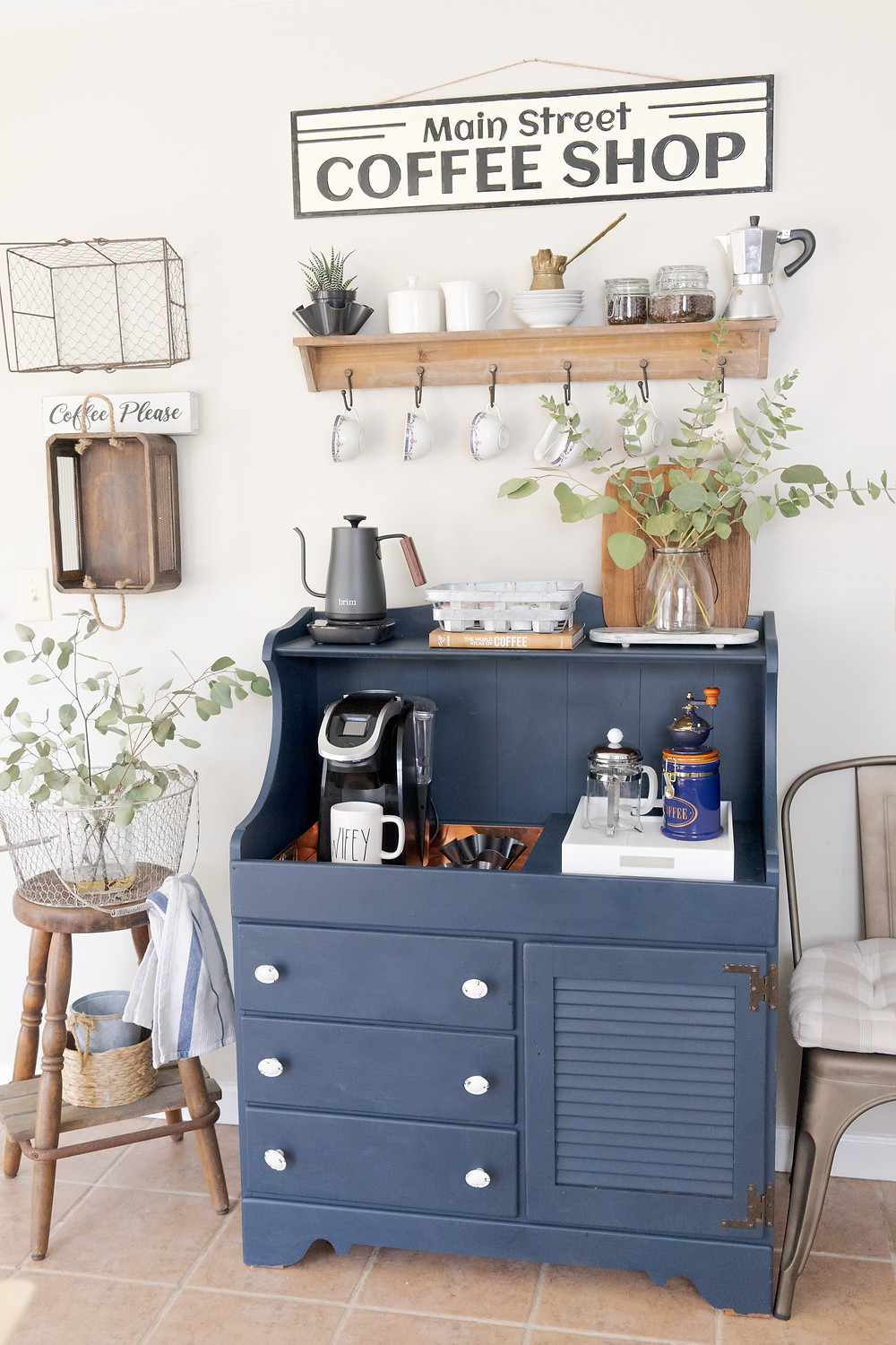 repurposed dry sink coffee bar