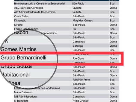 """Grupo Bernardinelli é indicado com nota """"Ótima"""" em pesquisa de satisfação."""