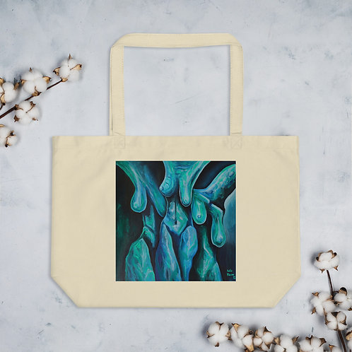 Large organic tote bag with 3 Graces painting
