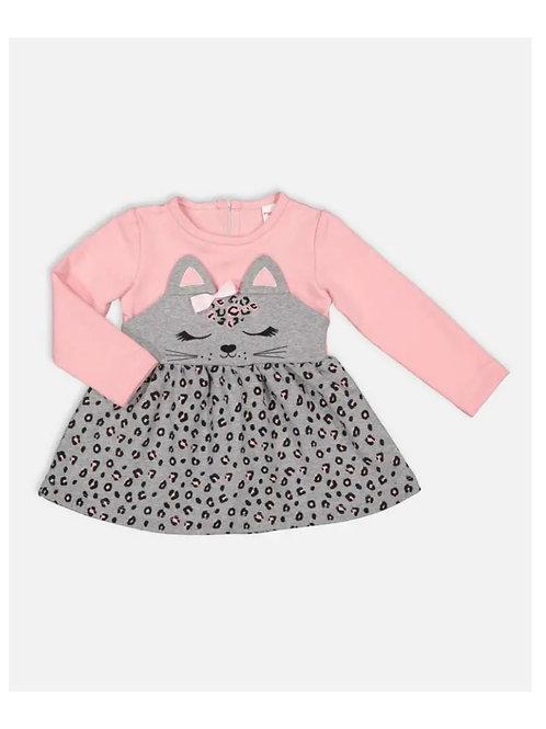 Girls Stylish Kitty Printed Long Sleeve Dress