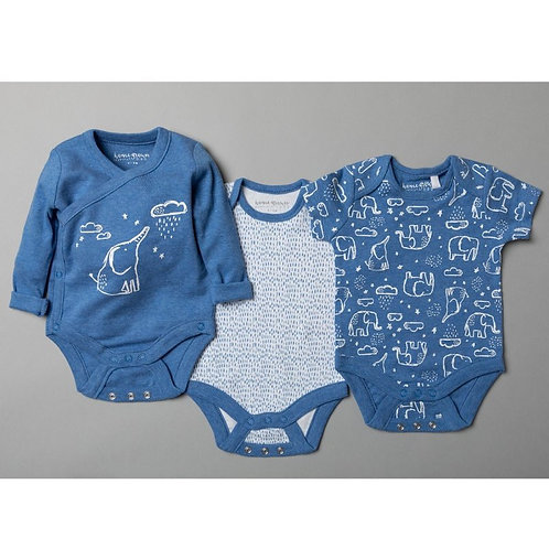 BABY BOYS ORGANIC 3 PACK BODYSUITS WITH EXTENDABLE GUSSETS