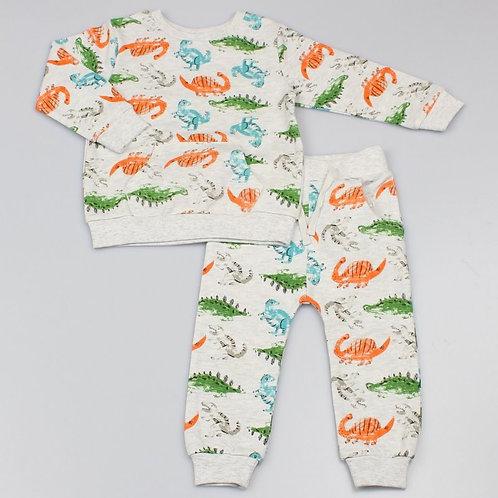 Infant Boys All Over Print Dinosaur Top & Jog Pant Outfit