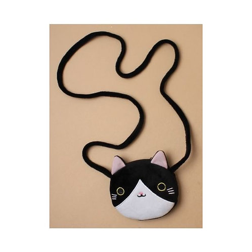 Cute Cat  Face Purse With Long Strap