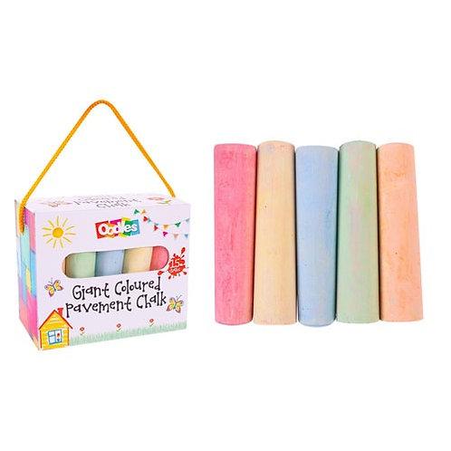 Kids Giant Coloured Pavement Chalk   Large Jumbo Chalks   5 Assorted Colours