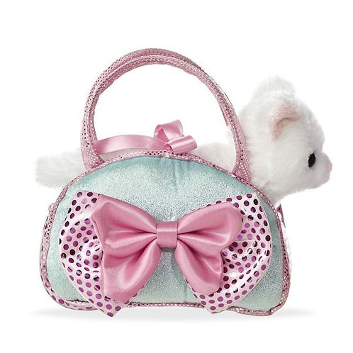 Cat In Icy Blue Handbag With Bow