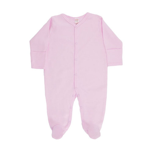 Cotton sleep suit with poppers to the front and legs with cuff mittens.