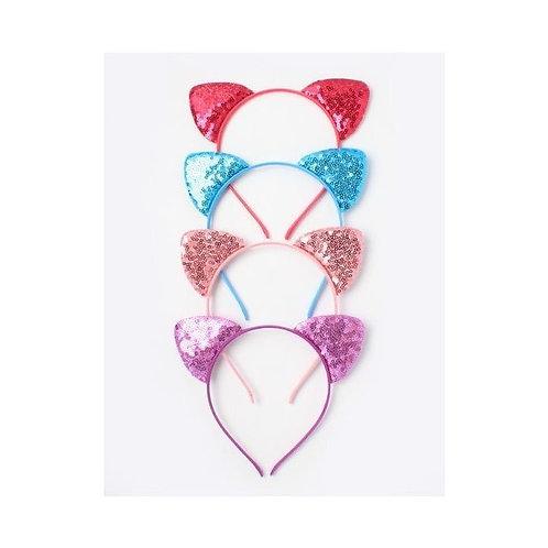 Childrens Girls Kids Sparkly Cat Ears Headband Hair Accessory