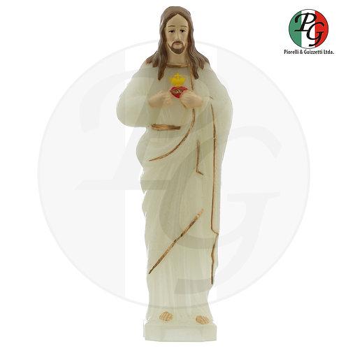 Imagem de plástico luminosa e pintada Coração de Jesus
