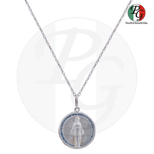 Pingente com medalha redonda com corrente prata