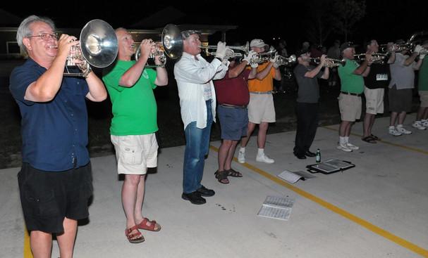 Optimists Alumni rehearsing outside the motel (Michigan City, 2010)