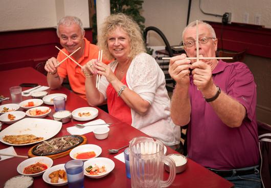 Doug, Glenda and Brian at our pre-trip Korean meal (July 22, 2017)