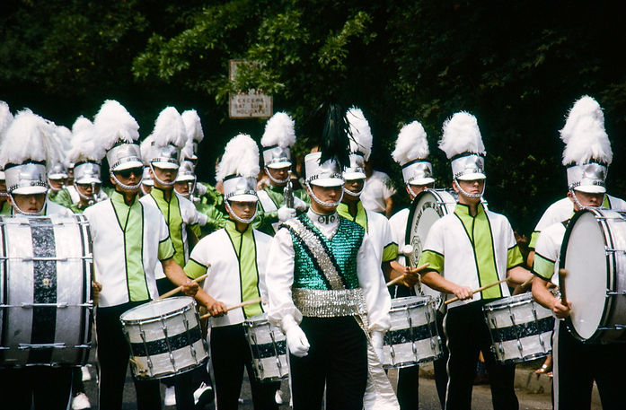 Toronto Optimists with drums in summer parade tops (Sarnia, 1967)