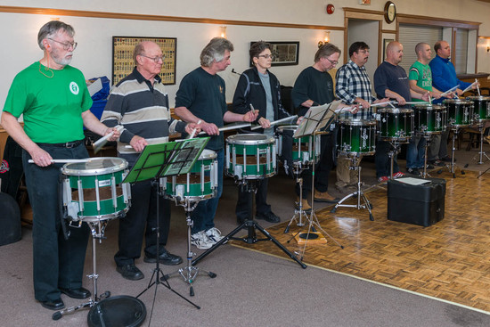 Optimists Alumni Snares rehearsing (Christmas Party, 2013)