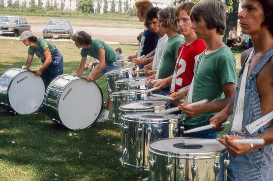 Toronto Optimists drums rehearsing (Brantford, 1975)