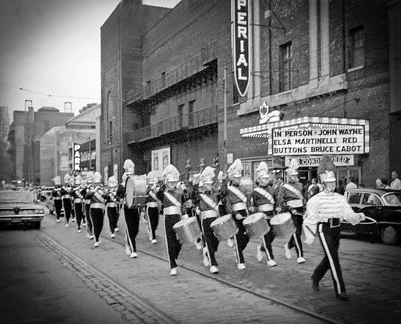 Toronto Optimists outside Imperial Theatre in Toronto (Hatari Movie parade, 1962)