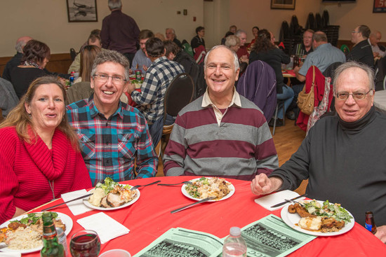 Lyn, Frank, Bob & Parky (Christmas Party, 2013)