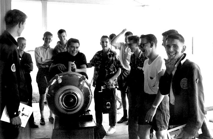 L-R: Ivor (?), ?, ?, Frans Rood, Jim McConkey (on rocket), ?, ?, Dave Watt, ? Tom Bedford from a photo by Don Daber