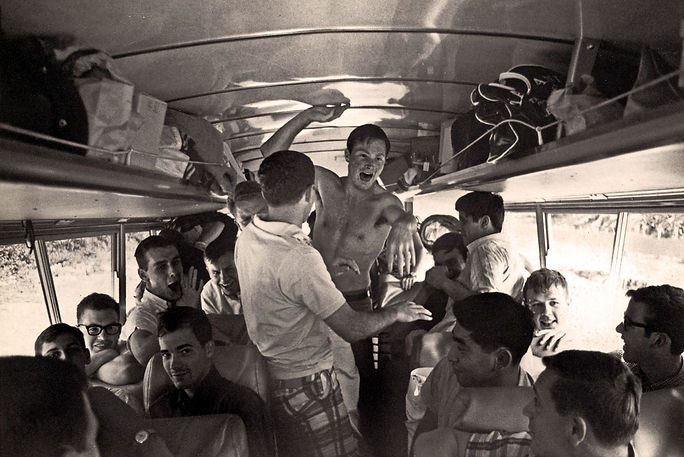 Photo by Don Daber  Left: Brian Byrne (eyes), Dennis Roberts, John McAlpine, Dave Blevins, ?, Clayton Keat (no shirt) Right: Barry Stinson, Art Tamaki, ?, Rick Shearer