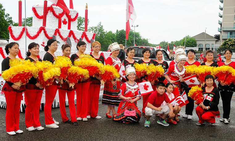 Participants in parade (Canada Day, Port Credit, 2016)