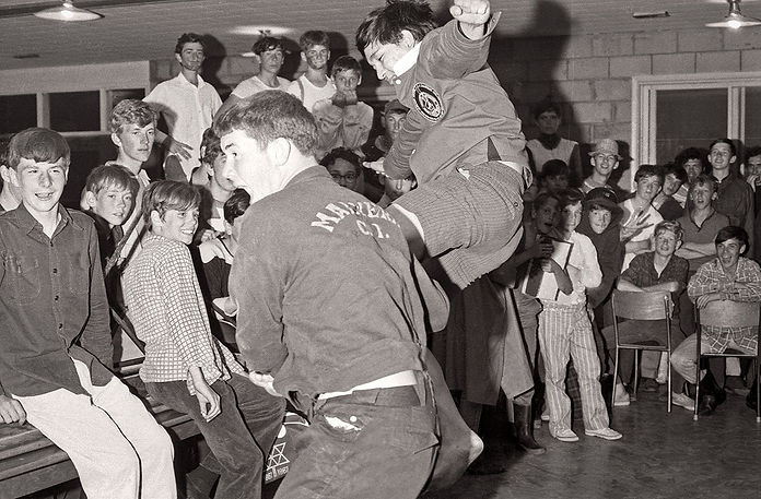 Ron Chong teaches new recruits the Flying Kick (1971)