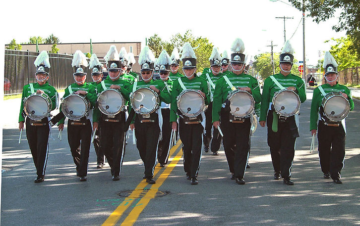 Marching to the stadium, Rochester (2008)