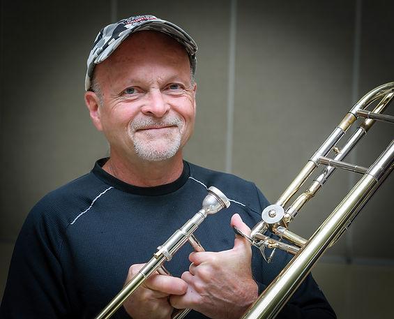 A trombone player (Oktobercorps rehearsal, Sept 9, 2018)