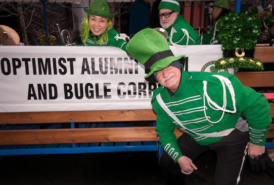 Rick with Soo and Barry behind, Optimists Alumni (Toronto St Pat's Parade, 2019)