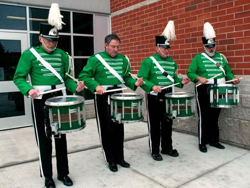 Drummers warming up (Uxbridge Santa parade, 2011)