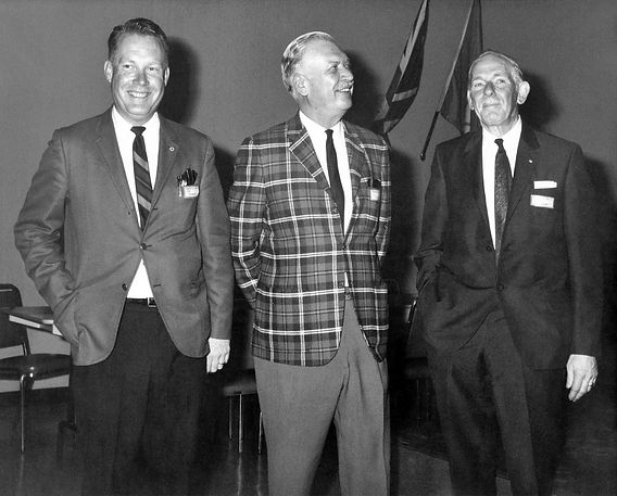 Don Daber, Alan Baggs and Herbert (Bud) Parker. Bud or Skip was the Scout Master who started the original Scout Band that evolved into The Toronto Optimists (Reunion, 1969)