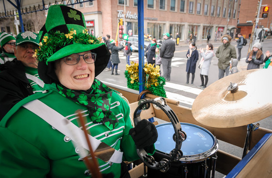 Judy Ferguson (Joe Gianna behind her), Optimists Alumni (Toronto St Pat's Parade, 2019)