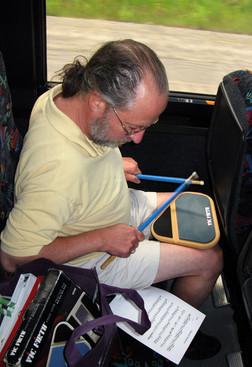 Roger Rafson on the bus (Sudbury, 2011)