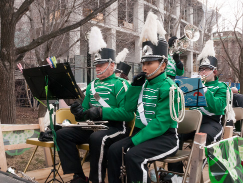 Optimists Alumni warming up (Toronto St Patrick's Day Parade, 2017)
