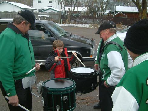Drum lessons before Oshawa parade (2005)