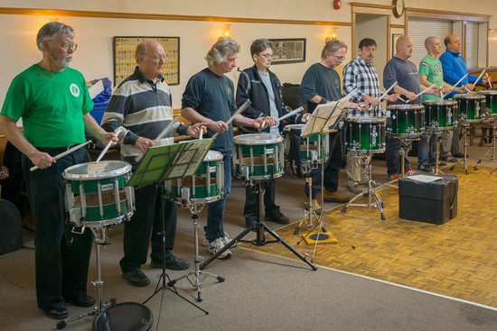 Optimists Alumni drums rehearsing before party (Christmas Party, 2013)