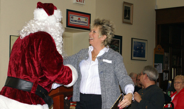 Glenda with Santa (January Party, 2008)