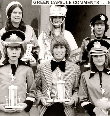 Lynn Oram, Guard-of-the-Year; Lynda Baillie, Cadet-of-the-Year; Bob Moore, Section-of-the-Year; George Price, Drummer-of-the-Year; Victor Decloux, Bugler-of-the-Year and Pat Tunney, Rookie-of-the-Year   From Green Capsule Comments