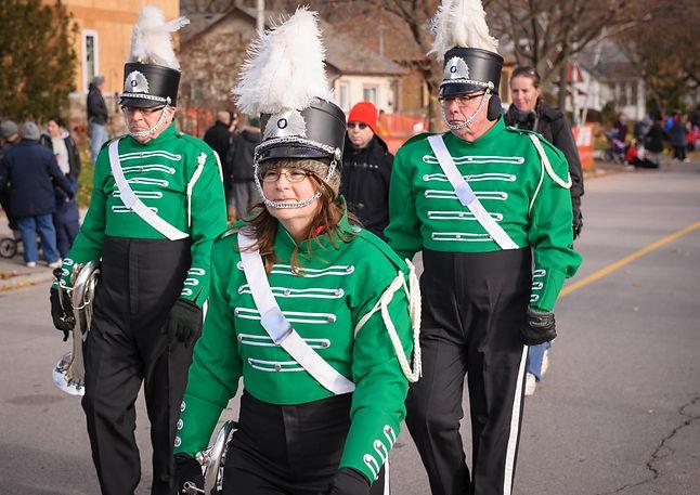 Brian Collingdon, Pat Buttigieg, Dougie May (no uniform) and Dave Bruce (Oakville Santa Parade, 2014)
